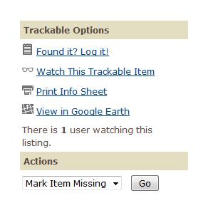 Einen Trackable als verloren melden.
